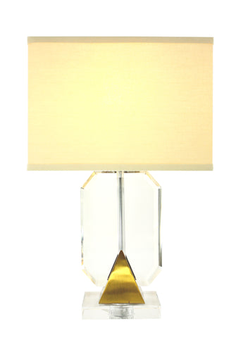 Gold and Cream Solid Crystal Table Lamp