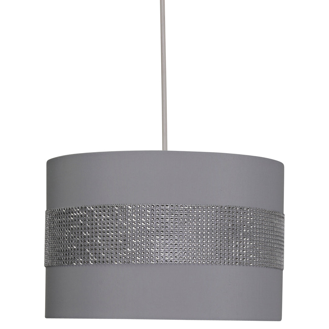 Grey & Diamante Sparkling Fabric Ceiling / Table  Lamp Shade