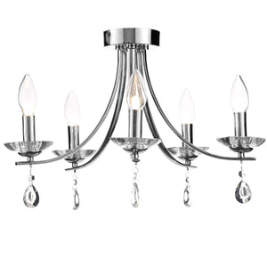 Chrome And Crystal Droplet 5 Arm Faux Candle Chandelier