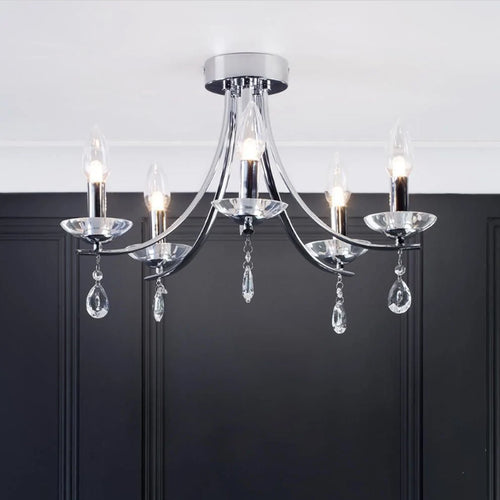 CGC Silver Chrome Crystal Droplet  Chandelier