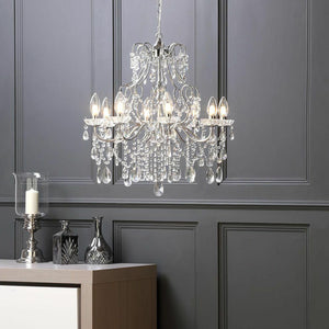 Chrome And Crystal Droplet 5 Or 8 Light Chandelier