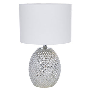 Silver Champagne Chrome Table Lamp with White Linen Shade