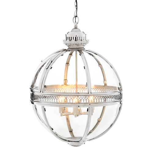 CGC Toledo 4 Light Round Ceiling Pendant in Chrome and Glass