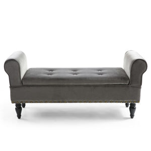 Luxury Brushed Grey Velvet Ottoman Window Bench Seat