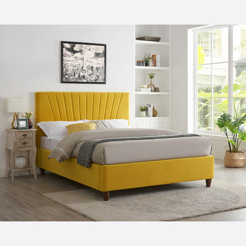 Lexie Double & King Size Bed Range - Mustard , Silver , Pink Colours
