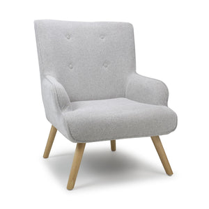 Cinema Flax Effect Grey Silver Armchair Accent Chair