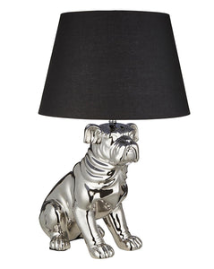 Large Silver Chrome Ceramic Bull Dog Table Lamp with Black Fabric Lamp Shade
