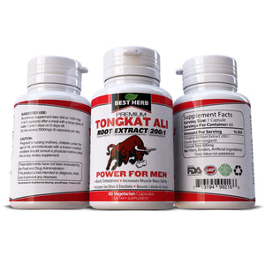 Tongkat Ali Power For Men 100% Pure & Natural Supplement Increases Muscle Mass Testosterone