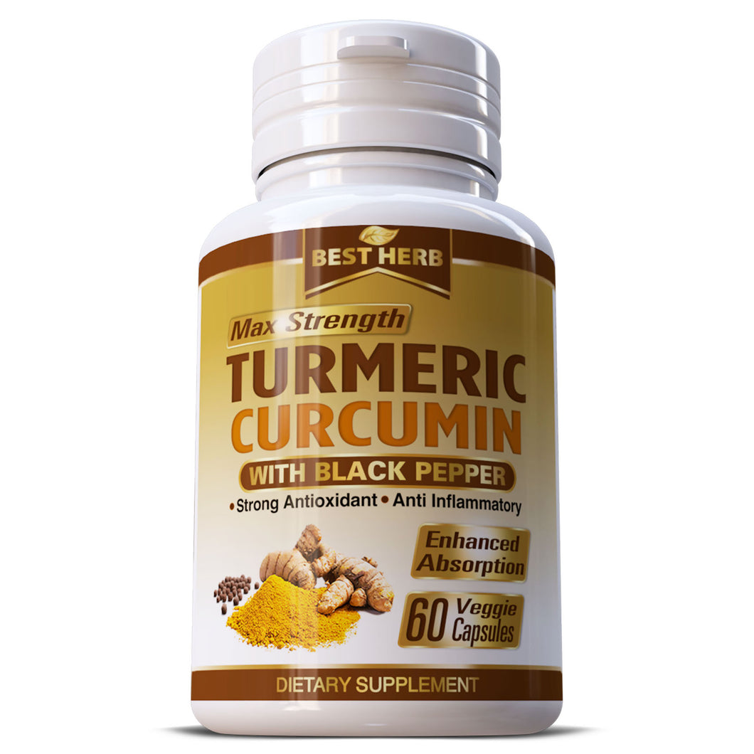 Turmeric Curcumin Max Strength 95% With Black Pepper (BioPerine) 10,000mg Extract Capsules