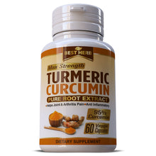 Load image into Gallery viewer, Turmeric Curcumin Root Extract 10,000mg Premium  (95% Curcuminoids) Capsules