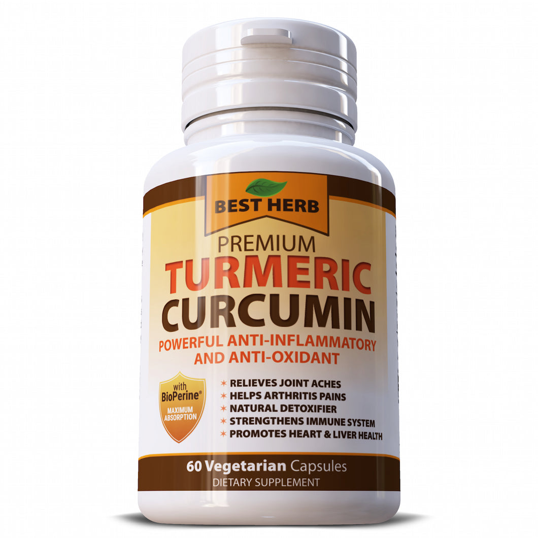 Best herb Premium Turmeric 95% Curcuminoids & Black Pepper Herbal Supplement Capsules Pills