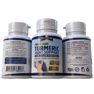 Turmeric Achey Joint Stiffness Pain Relief Arthritis Formula 95% Curcumin With Black Pepper Extract Capsules / Pills