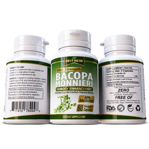 Best Herb Bacopa 100% Natural Supplement Promotes Cognitive Function