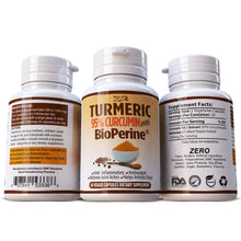 Load image into Gallery viewer, Turmeric 95% Curcumin With Black Pepper Extract (BioPerine) Anti Oxidant Pills