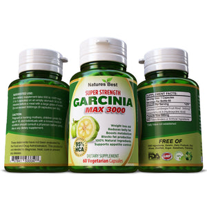 Garcinia Cambogia Max 3000 Weight Loss Slimming Diet Herbal Supplement Capsules Pills Vegetarian 100% Pure & Natural No Fillers or Binders