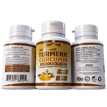 Load image into Gallery viewer, Turmeric Curcumin Max Strength 95% With Black Pepper (BioPerine) 10,000mg Extract Capsules