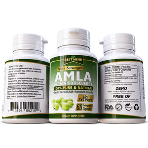Best Herb Amla (Amalaki Indian Gooseberry) 100% Pure Extract Capsules Natural Supplement Hair Growth