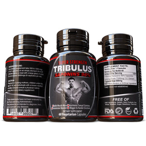 Tribulus Terrestris Saponins 96% Grade A Extract Pills Capsules Herbal Supplement Build Big Muscles Muscle Mass Vegetarian 100% Pure & Natural No Fillers or Binders