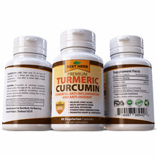 Load image into Gallery viewer, Turmeric & Black Pepper Extract 100% Pure & Natural Herbal Supplement Anti Oxidant Stiff joints Arthritis