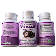 Load image into Gallery viewer, Hair Nutrition Vitalize Pro 3000 100% Pure & Natural Supplement Stronger Fuller Hair Full of Vitamins