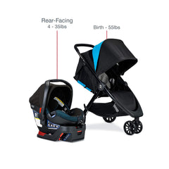 Britax B-Lively Travel System with B-Safe Ultra Infant Car Seat For Rear Facing 4-35Ibs | ANB Baby