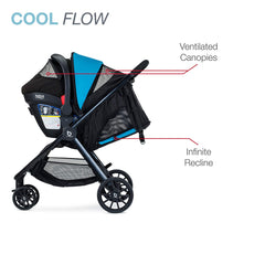Britax B-Lively Travel System with B-Safe Ultra Infant Car Seat Large Zipper Pocket on Back of Canopy | ANB Baby