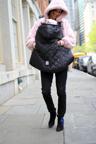 7 A.M. Enfant K-Poncho Winter Baby Carrier Cover, Black, 0-3T available at ANBbaby.com