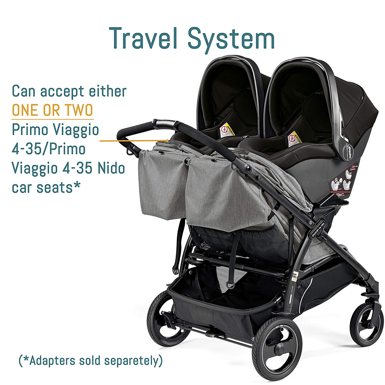 Peg Perego Book For Two Double Stroller Car Seat Compatible | ANB Baby