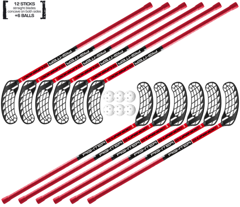 Set Unihoc FIGHTER 12 sticks + 6 balls