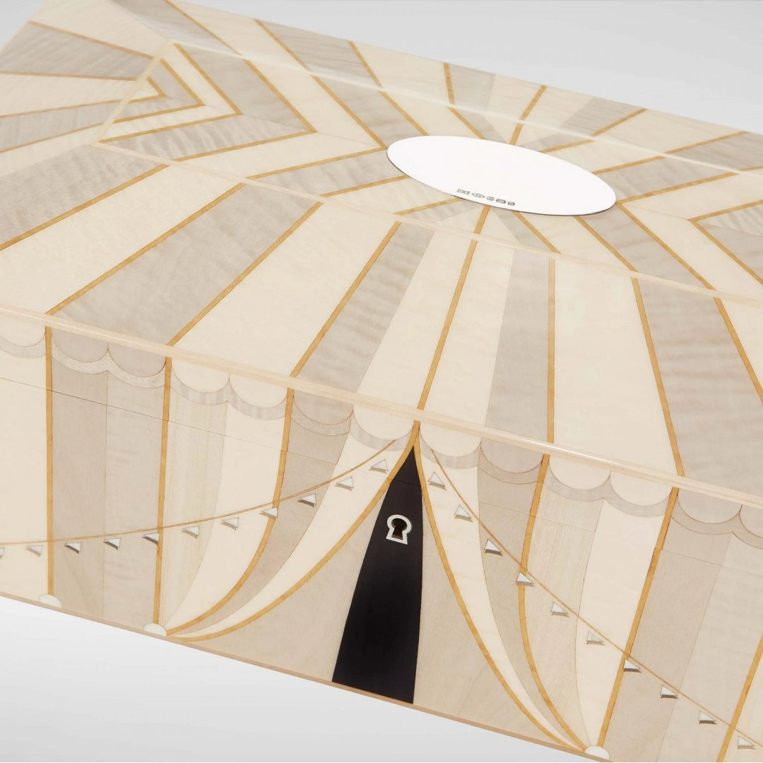 Linley Circus Jewellery Box Cream - Luxury Wooden Gift Engraved Details