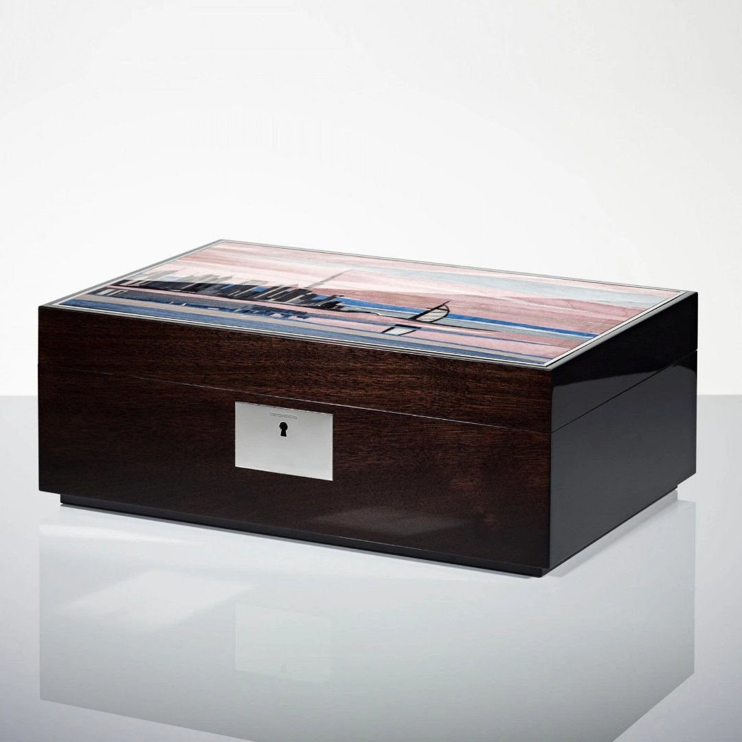 Linley Dubai Skyline Box -  Luxury Wooden Humidor/Jewellery Box Engraved