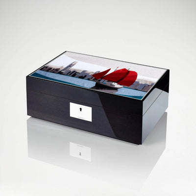 Linley Hong Kong Skyline Box -  Luxury Engraved Wooden Humidor/Jewellery Box