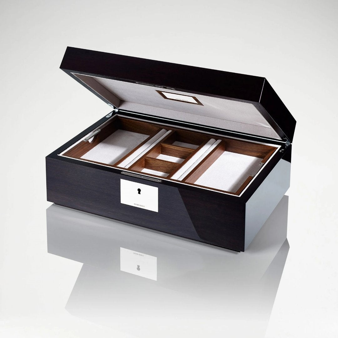 Linley Dubai Skyline Box -  Luxury Wooden Humidor/Jewellery Box Engraved Open