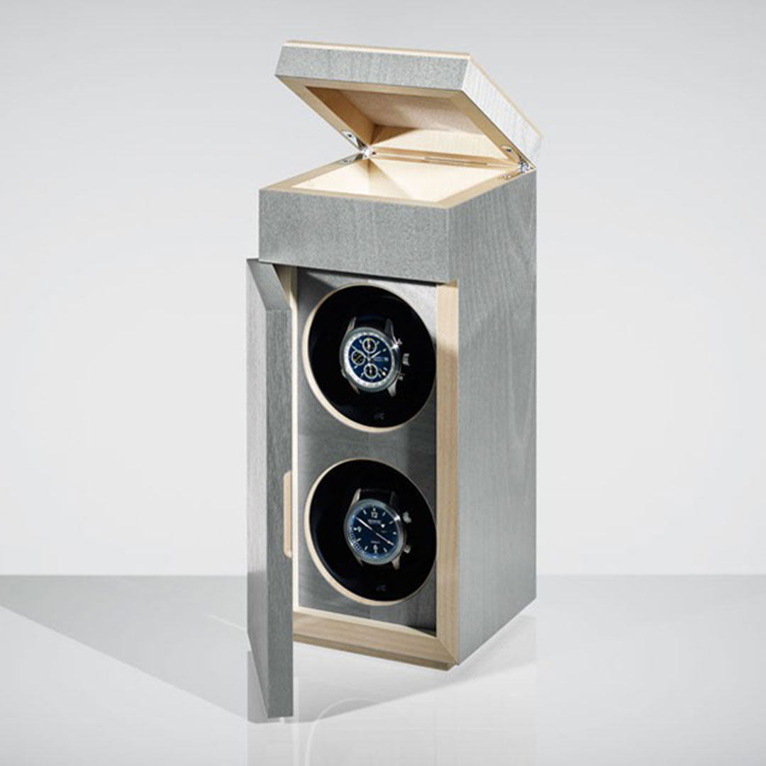 Linley Double Luxury Watch Winder - Grey Dyed Birch Veneer