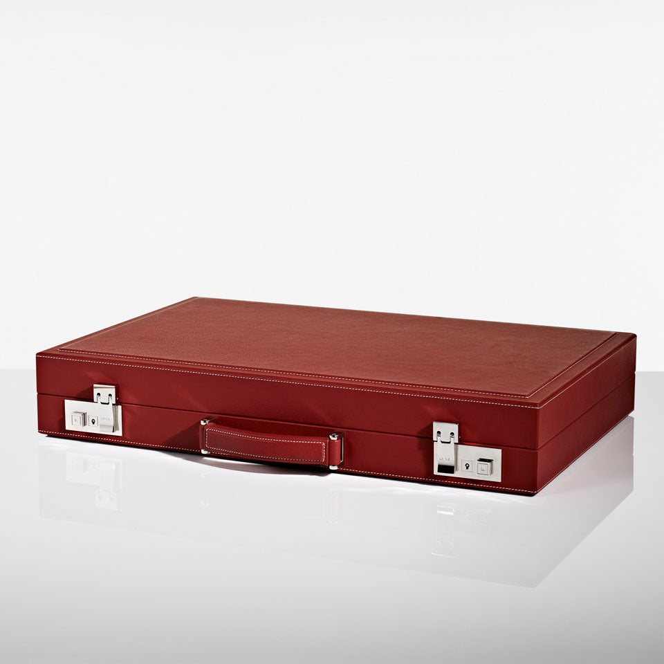 Linley Mayfair Backgammon Game Red Leather - Closed Box