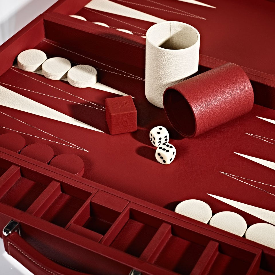 Linley Mayfair Backgammon Game Red Leather - Details