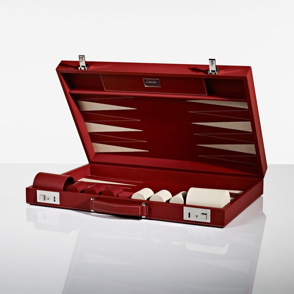 Linley Mayfair Backgammon Game Red Leather - Open Box