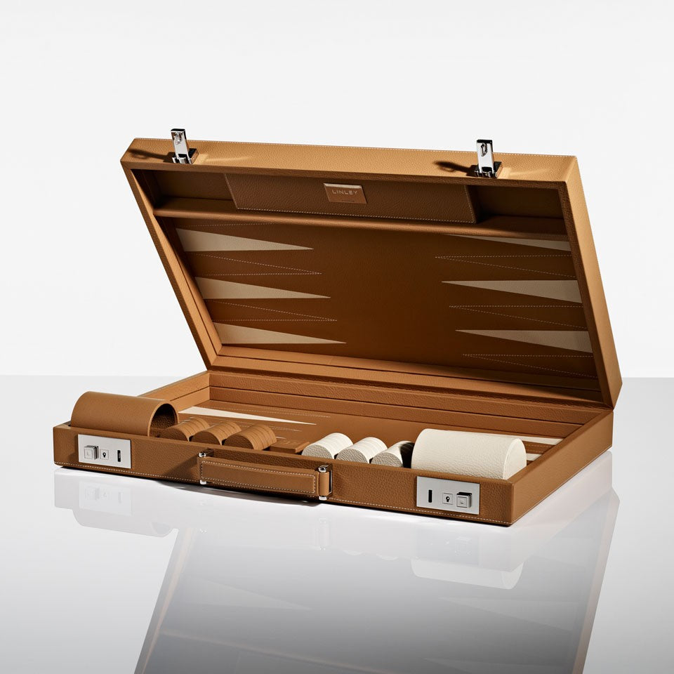 Linley Mayfair Backgammon Game Tan Leather - Open Box