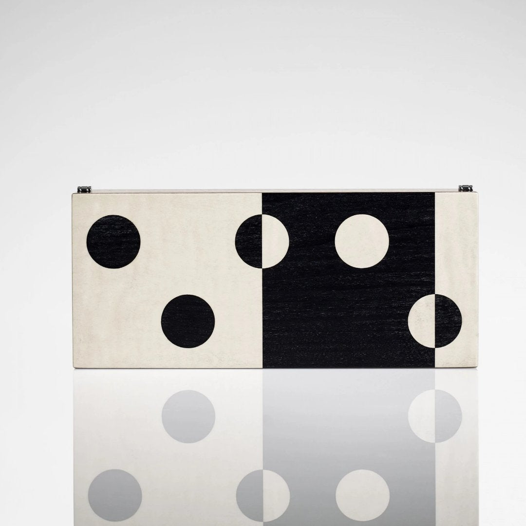 Linley Domino Box Set - Wooden Black & White Dots