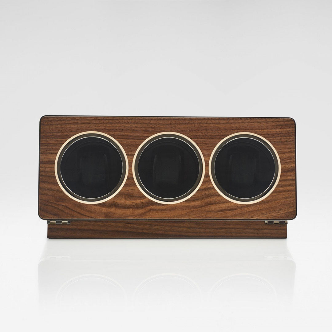 Linley Riviera Triple Watch Winder - Luxury Wooden Storage Case Engrave