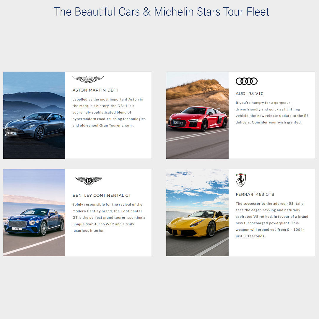Ultimate Driving Tours: Beautiful Cars & Michelin Stars (15 - 21 June 2020)