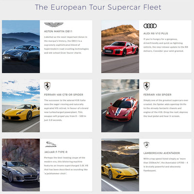 Ultimate Driving Tours: European Supercar Tour + Monaco Grand Prix (Tour One: 16 May - 25 May 2020)