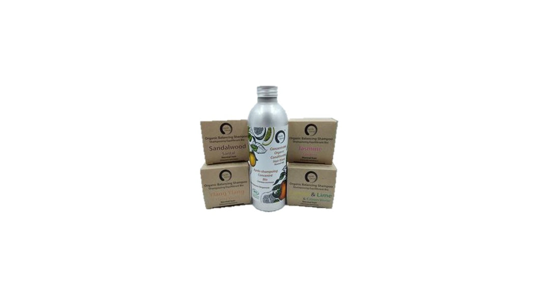 Trio Pack - Organic Solid Shampoo, Organic Concentrated Hair Rinse & Argan Oil