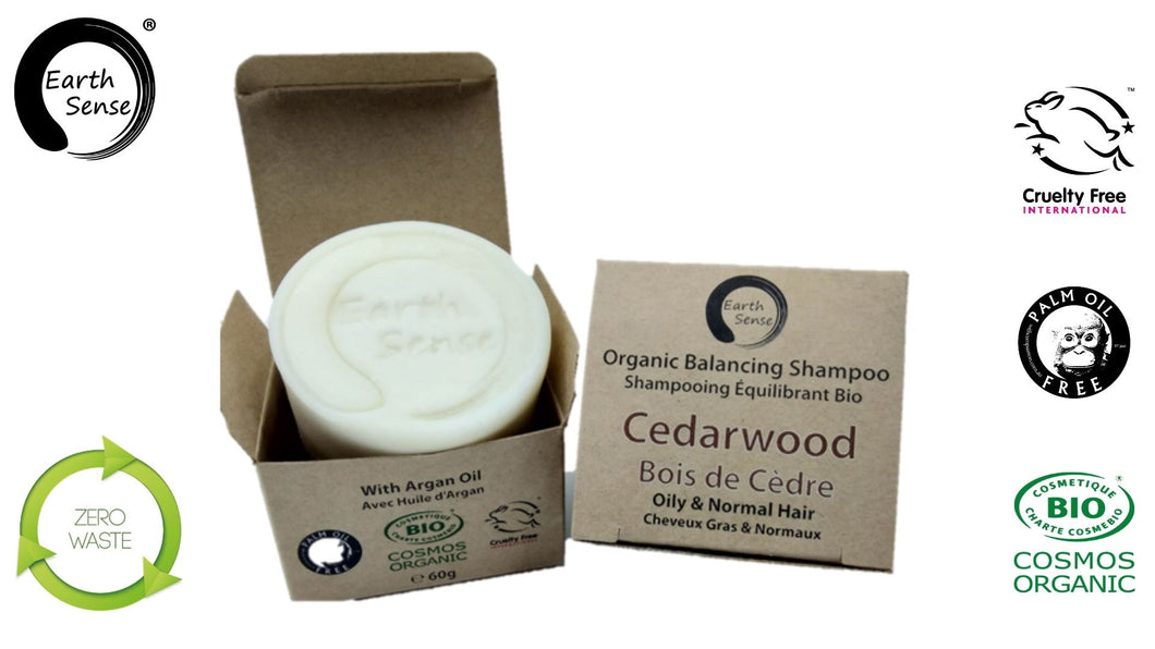 Organic Certified Balancing Solid Shampoo - Cedarwood - Oily & All Hair Types 60g