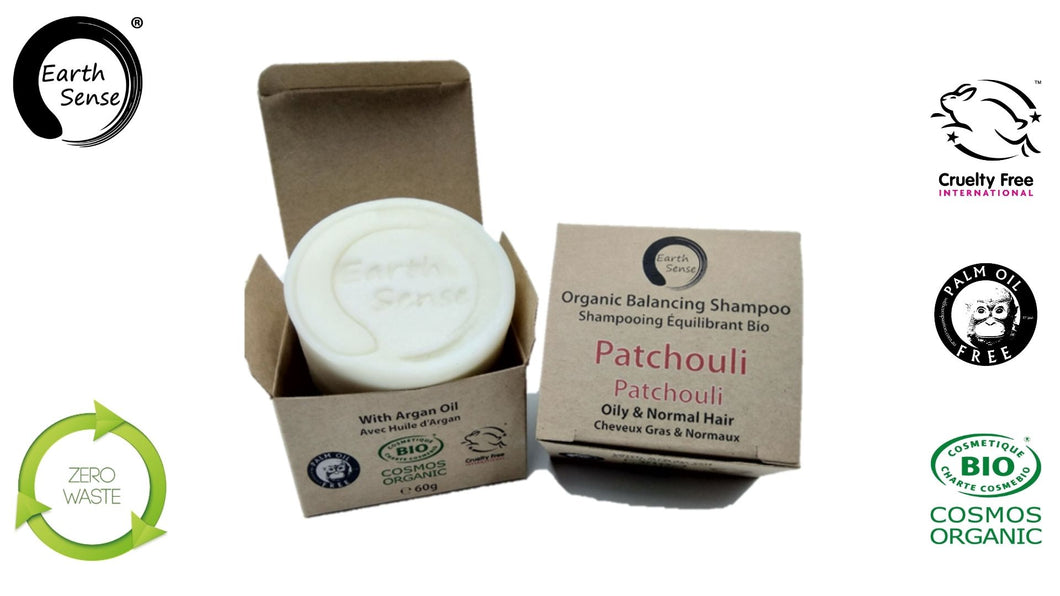 Organic Balancing Solid Shampoo - Patchouli - Oily & all Hair Types 60g