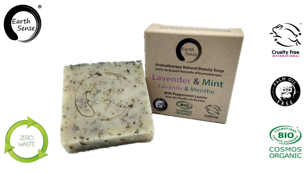 Organic Solid Soap - Lavender & Mint with Shredded Mint Leaves 100g