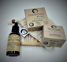 Load image into Gallery viewer, Gift Set TRIO - Organic Solid Shampoo & Organic Solid Soap plus 1 x 50ml Organic Argan Oil