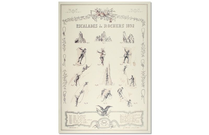 Lithographic print: Escalades de Rocher 1892