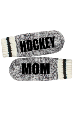 Custom Message Mittens- Dark Grey with Black Stripe