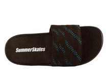 Load image into Gallery viewer, Summer Skate Lace Sandal- black lace with blue tracer